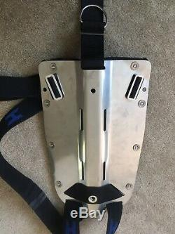 Halcyon Stainless Steel SCUBA Backplate and harness With MC Pouch. DIR