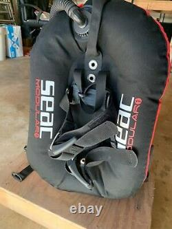 Scuba Diving BCD SEAC Modular One, red & black. Harness with wing